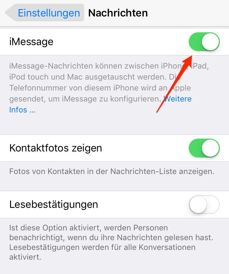 iMessage deaktivieren & aktivieren – Schritt 3