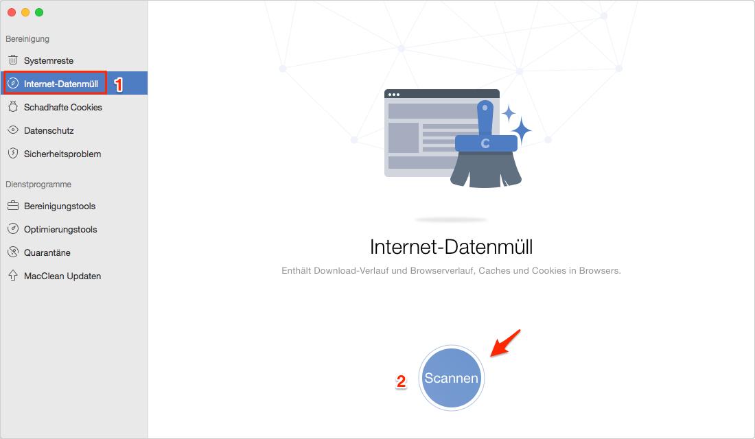 Internet-Datenmüll auf MacClean wählen und Mac scannen - Schritt 1