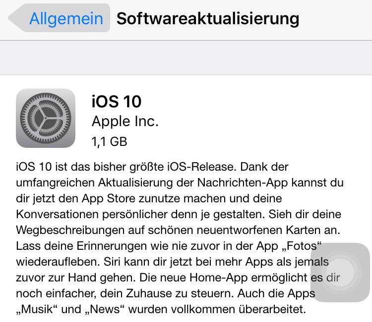 iOS 10 auf dem iOS-Gerät direkt installieren
