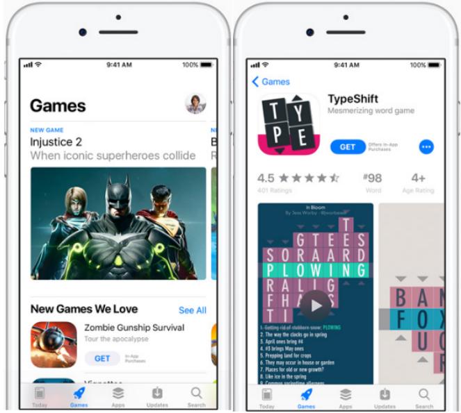 """iOS 11 App Store – """"Games"""" Tab und Produktseite"""