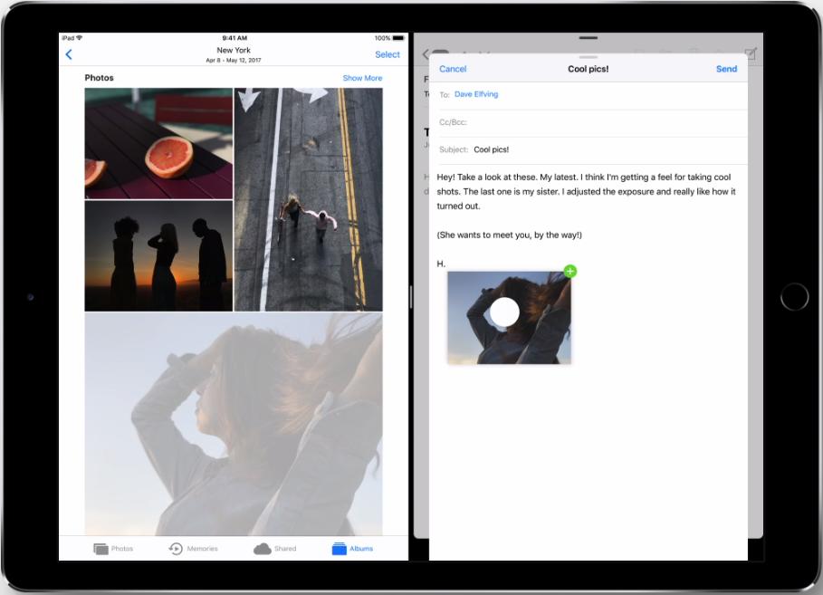 iOS 11 Split-Screen Multitasking - Inhalte per Drag & Drop verschieben