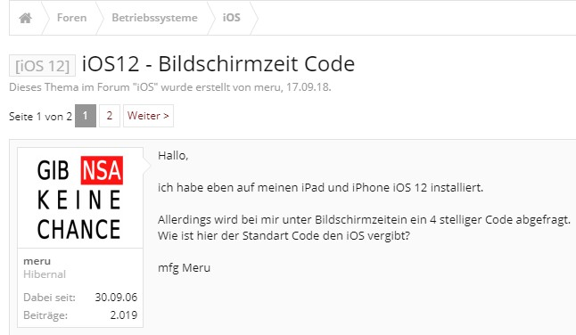 iOS 12 Bildschirmzeit Code vergessen