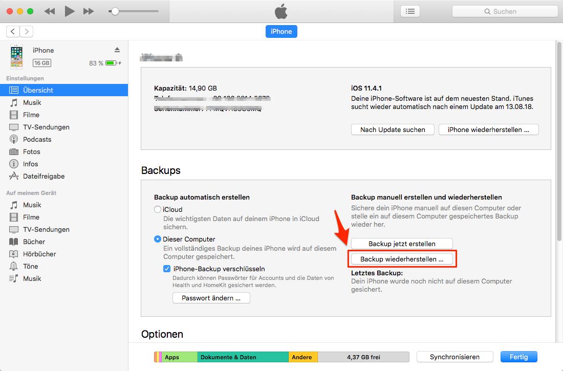 iPhone Fotos verschwunden - mit iTunes-Backup