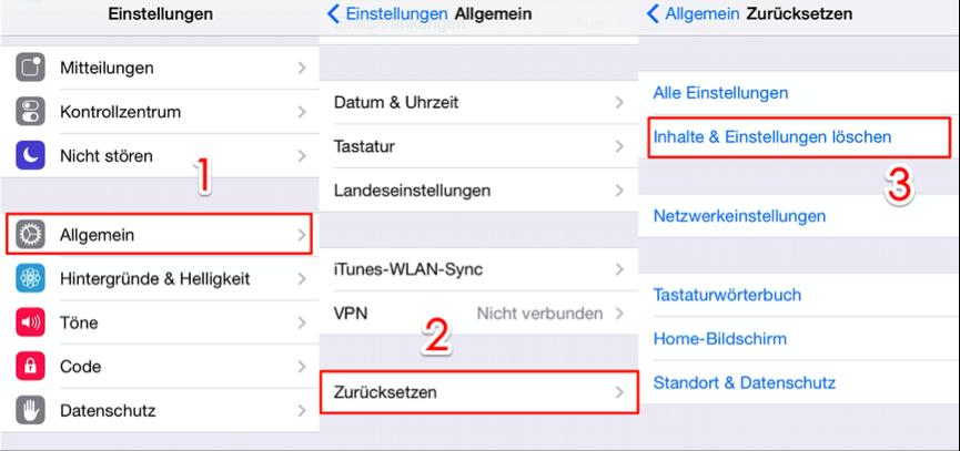 iOS 12 iPhone Fotos weg - Alle Einstellungen löschen