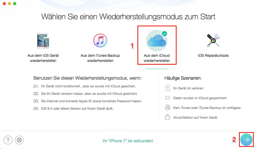 iOS 12 Fotos weg - aus iCloud wiederherstellen