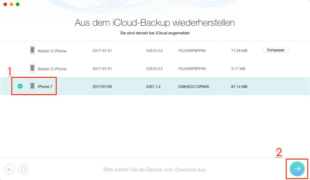 iOS 12 iPhone Fotos verschwunden - iCloud-Backup auswählen