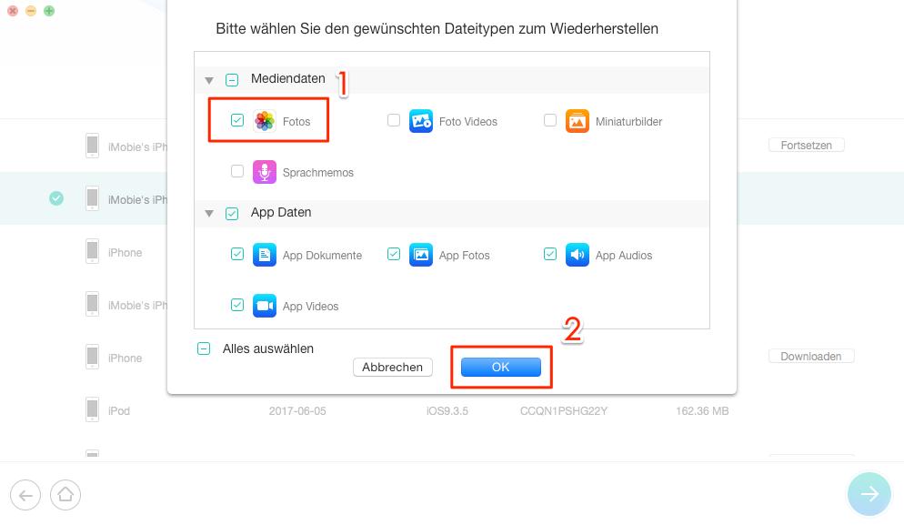iOS 12 iPhone Fotos weg - Fotos auswählen