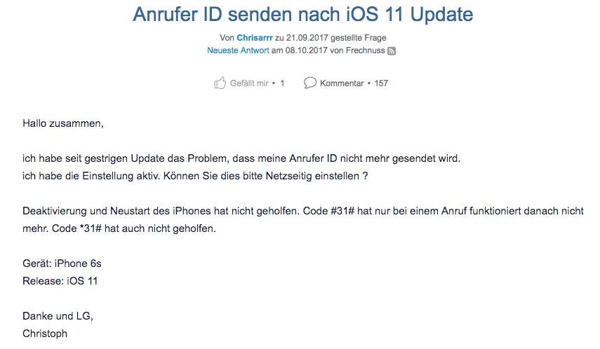iOS 11/11.1 Anrufer ID wird nicht gesendet