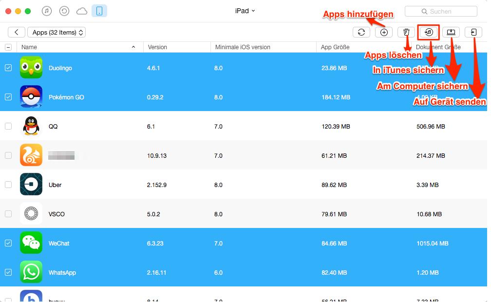 Apps und Spielstände vom iPad in iTunes sichern – Schritt 6