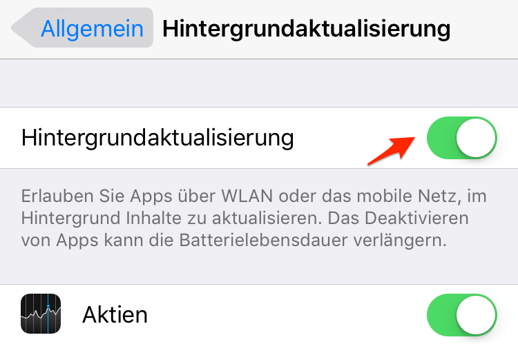 iPhone X/8 schneller machen - Hintergrundaktualisierung deaktivieren