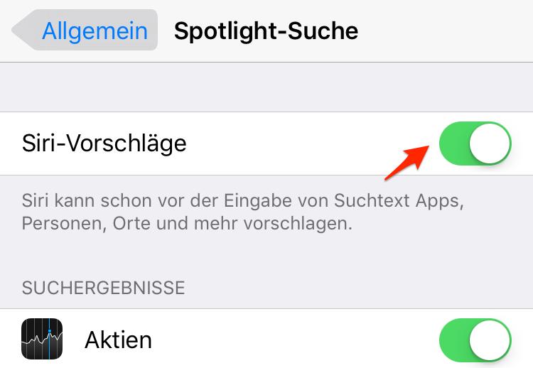 iPhone X/8 beschleunigen: Spotlight-Suche & Siri-Vorschläge deaktivieren
