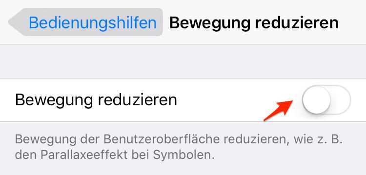 Bewegung reduzieren – iPhone X/8(Plus) schneller machen