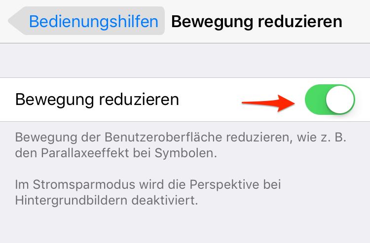 Bewegung reduzieren, um iOS 11/11.1-Gerät schneller machen