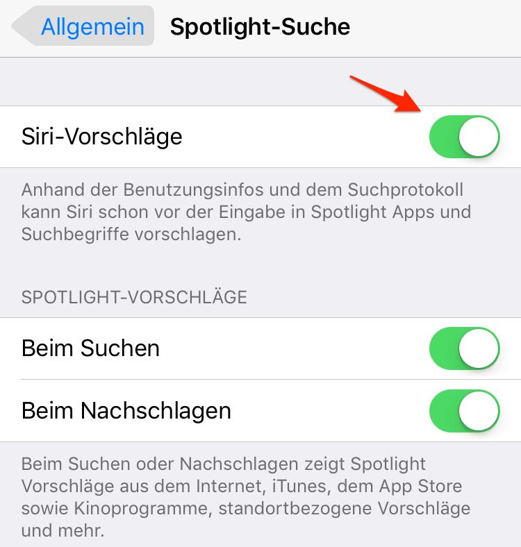iOS 11/11.1-Gerät beschleunigen: Spotlight-Suche ausschalten