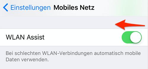 WLAN Assist deaktivieren, um Mobiles Daten zu schützen