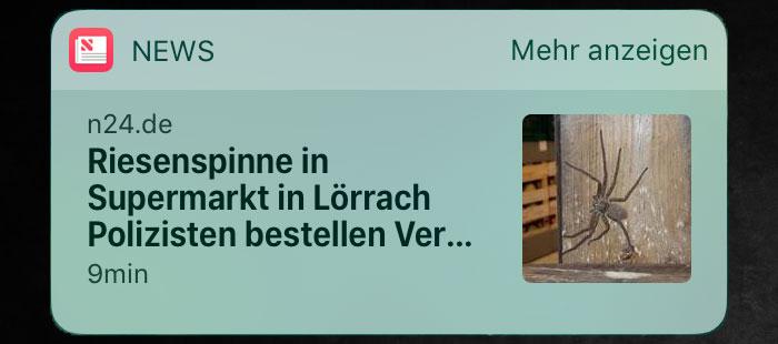 News widget iphone weg