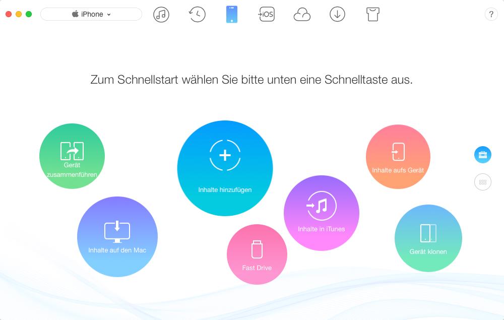 Das Überblick von AnyTrans – iOS 12-Daten verwalten
