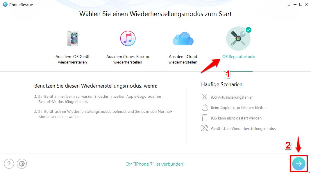 iOS System Recovery – iOS Reparaturtools vom PhoneRescue