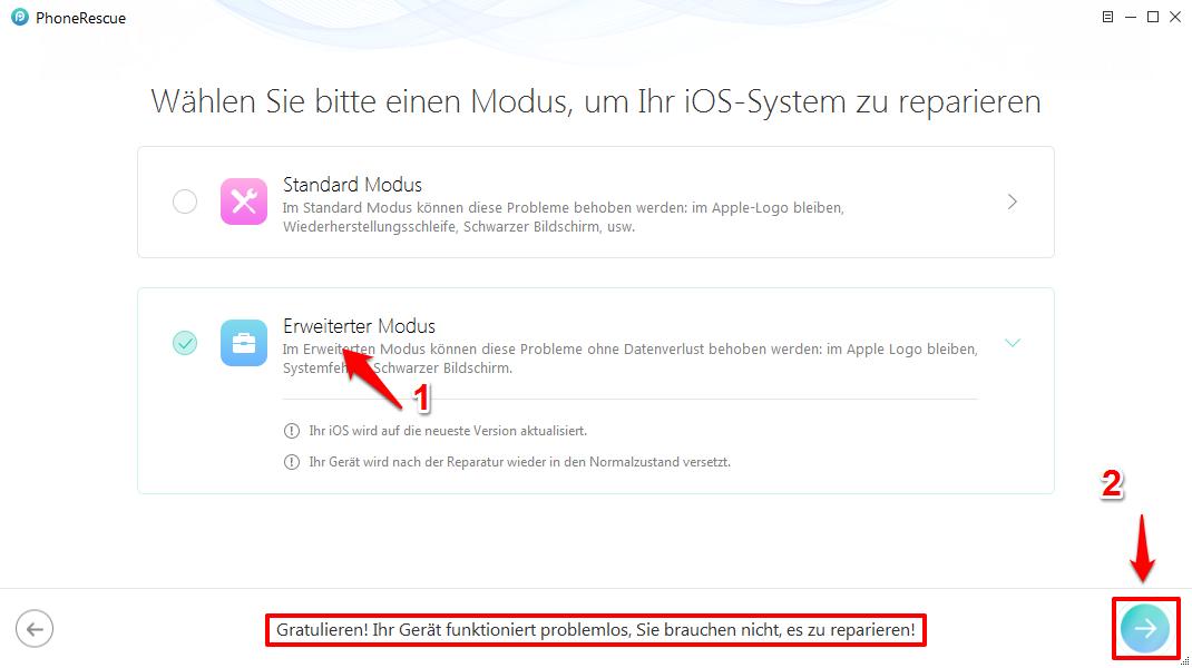 iOS System Recovery – Eine der Modi auswählen