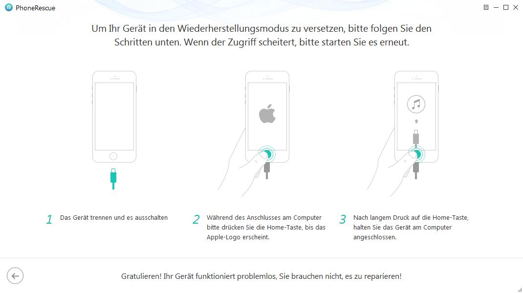 iOS System Recovery – das Gerät in den Wiederherstellungsmodus versetzen