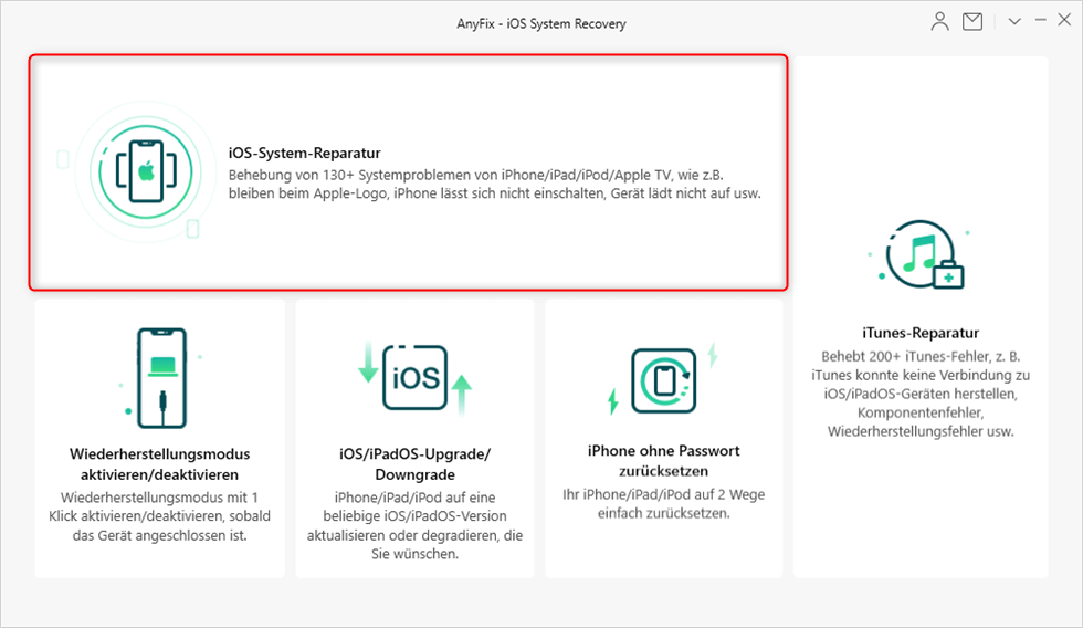 iOS-System-Reparatur Funktion
