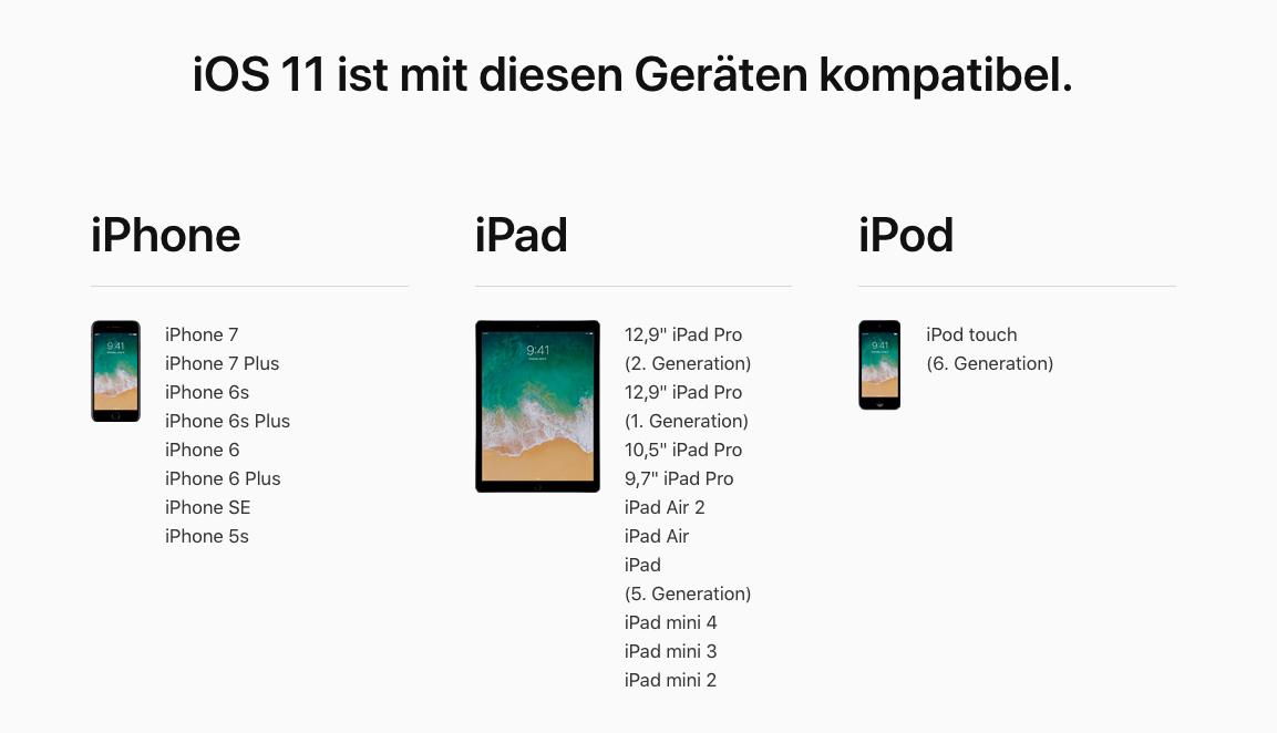 iOS 11 unterstützte Gerät – iOS 11 Kompatibilität