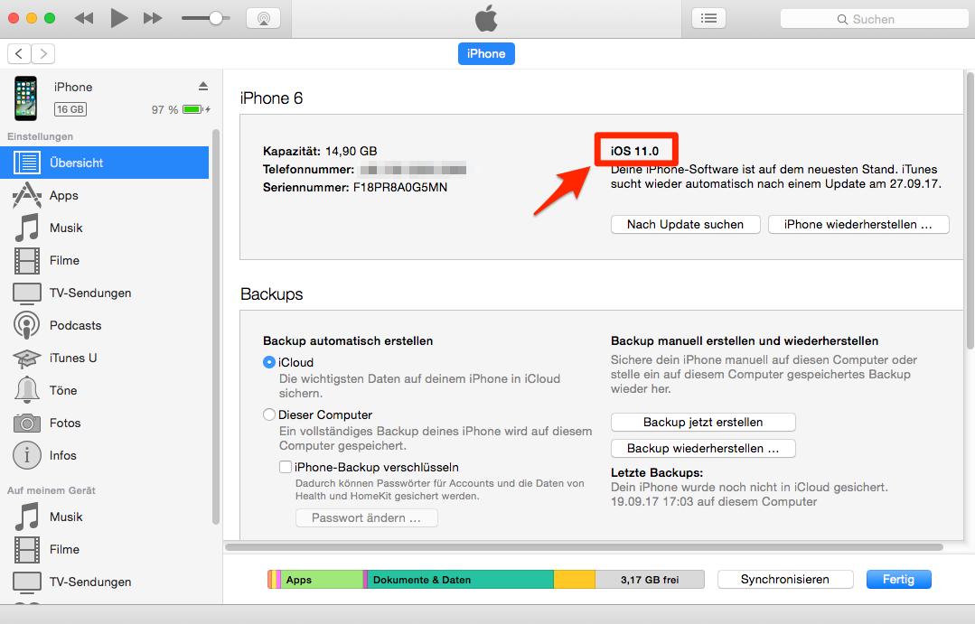 Gerät über iTunes aktualisieren – iOS 11/11.1 Probleme