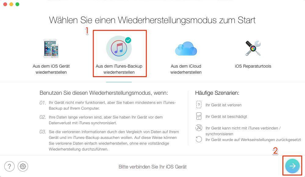 iOS 11 WhatsApp Bug – WhatsApp Daten wiederherstellen – Schritt 1