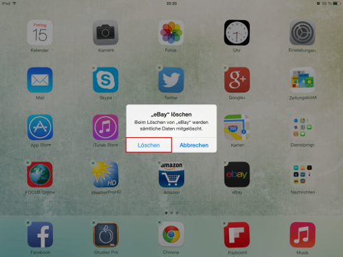 iPad App manuell löschen