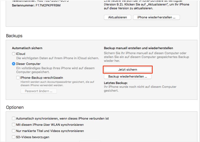 iPad Backup erstellen