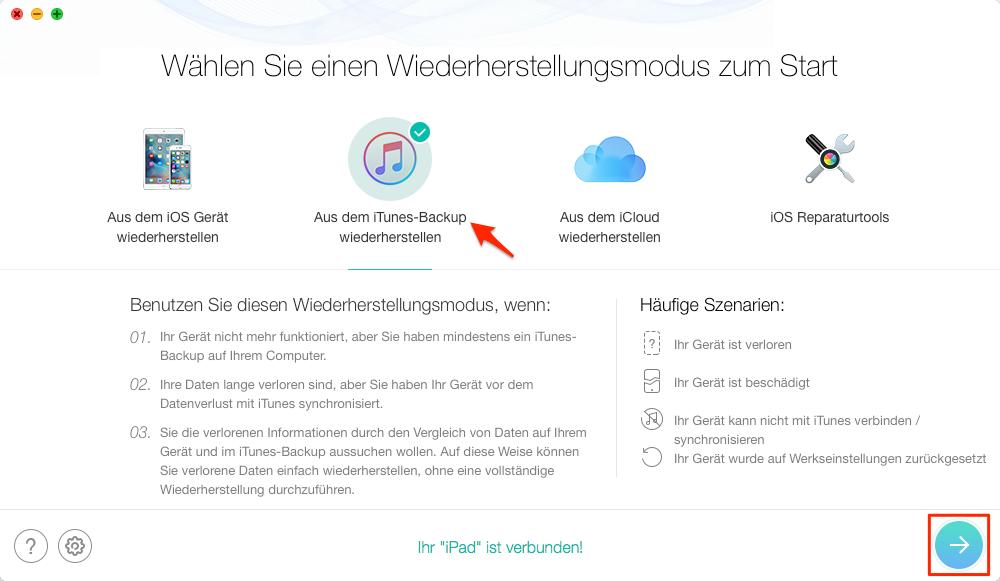 """PhoneRescue öffnen und """"Aus dem iTunes-Backup wiederherstellen""""- Schritt 1"""
