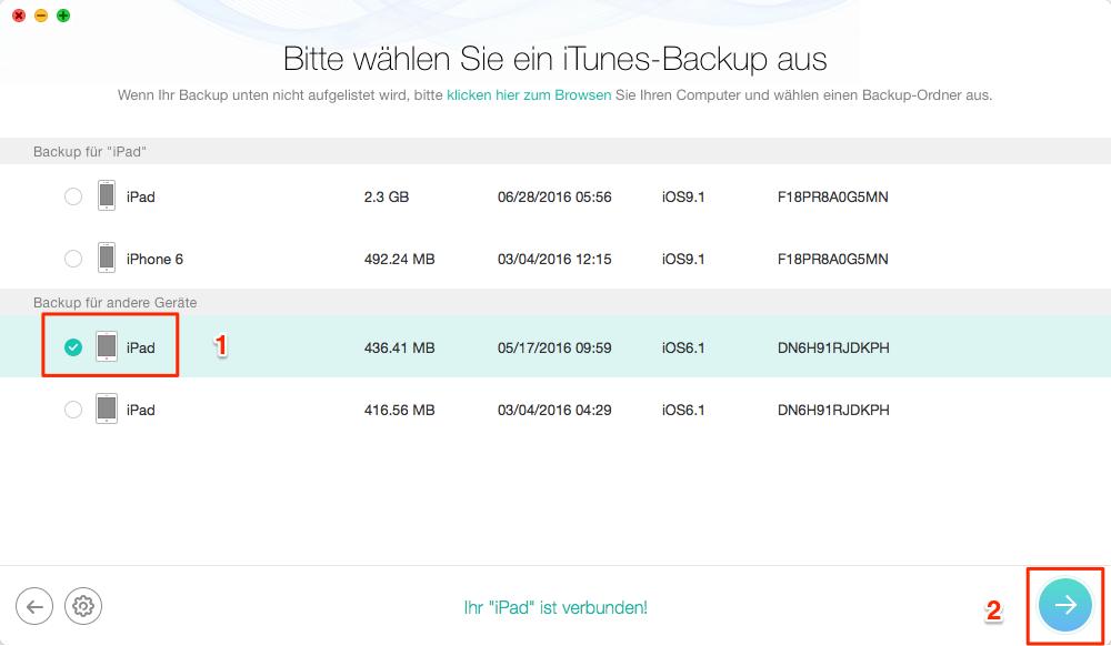 """iPad und die Option """""""" wählen - Schritt 2"""