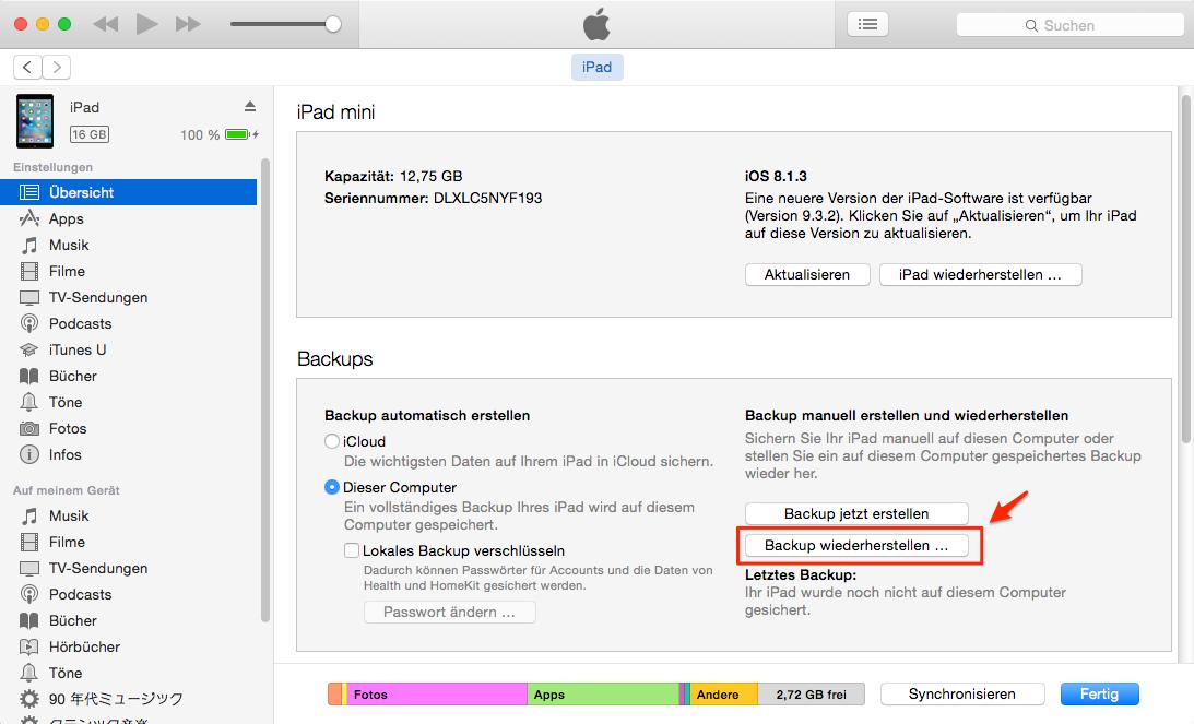 Über iTunes kann man iPad Backup wiederherstellen