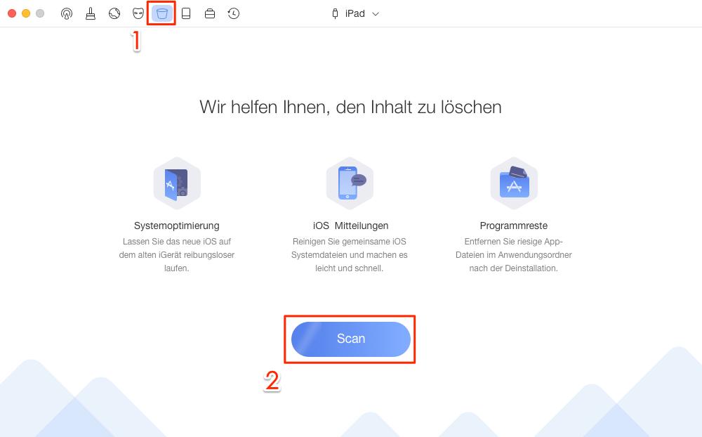 PhoneClean öffnen und Systembereinigung wählen - Schritt 1