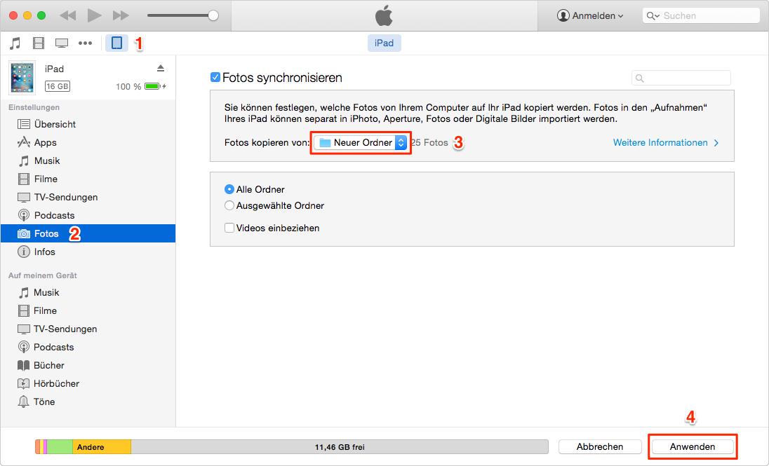 Über iTunes löscht man iPad Fotos