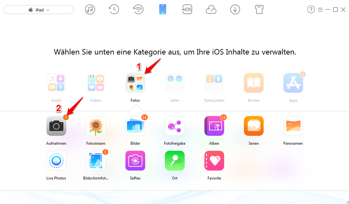 iPad Bilder löschen – Schritt 2