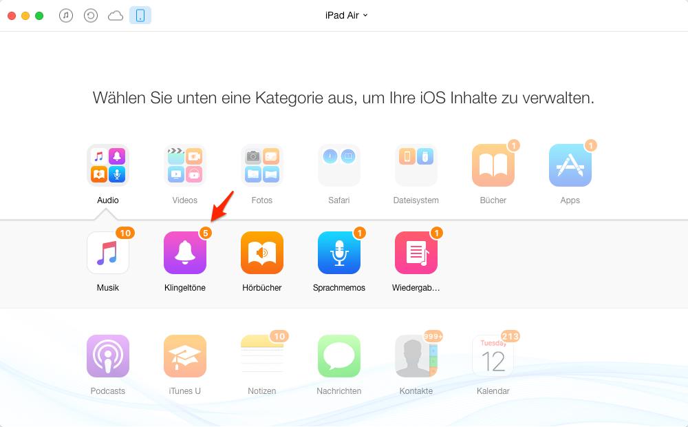 Klingeltöne vom iPad auf Mac – Schritt 2