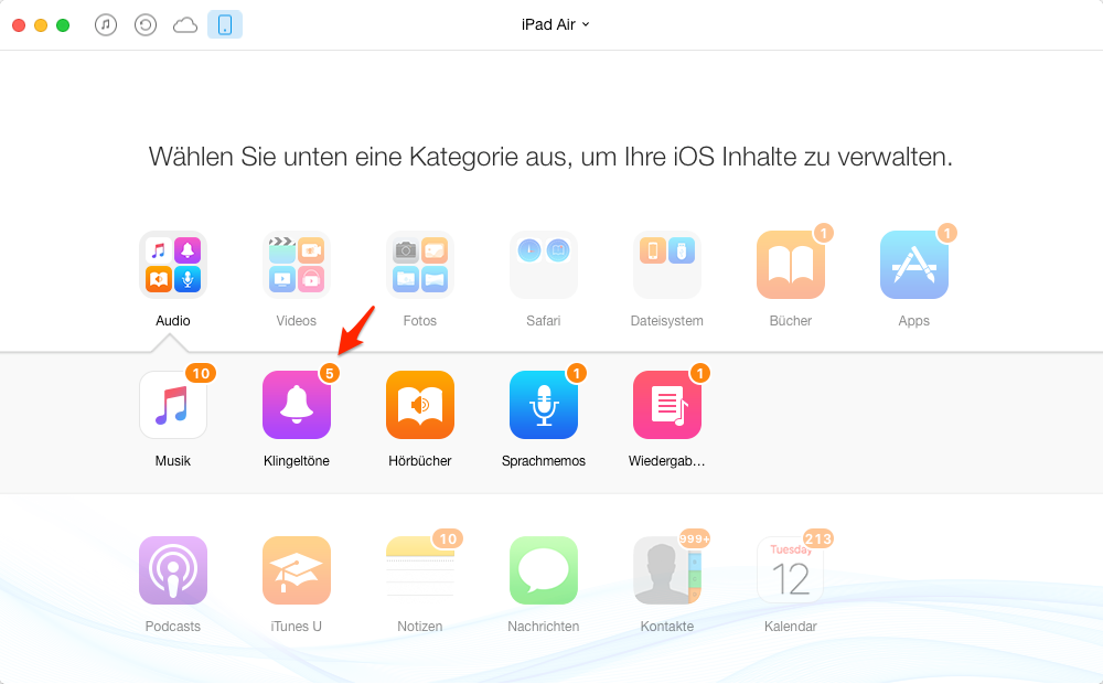 iPad Klingeltöne auf iTunes kopieren – Schritt 2