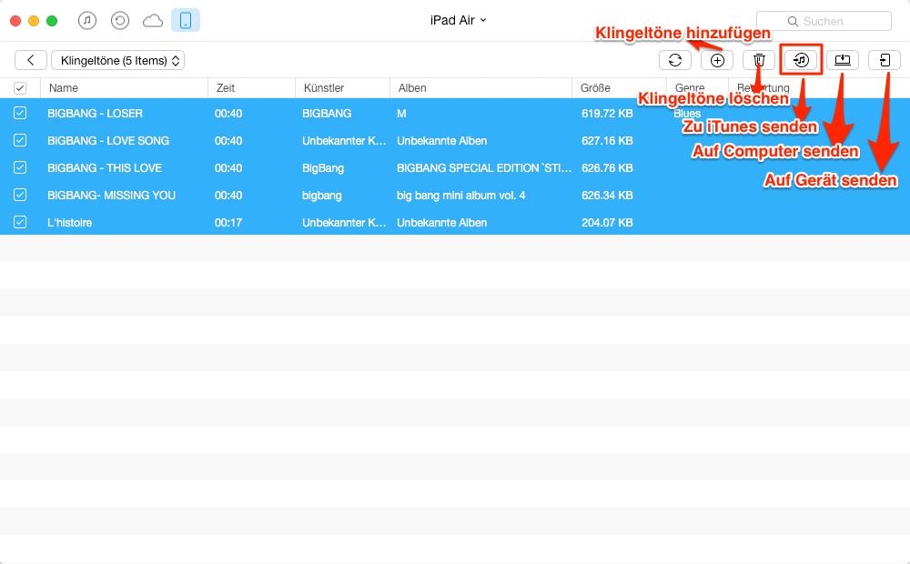 iPad Klingelton in iTunes übertragen – Schritt 3