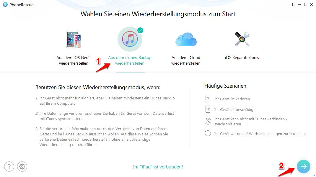 iPad lässt sich nicht wiederherstellen – mit PhoneRescue beheben