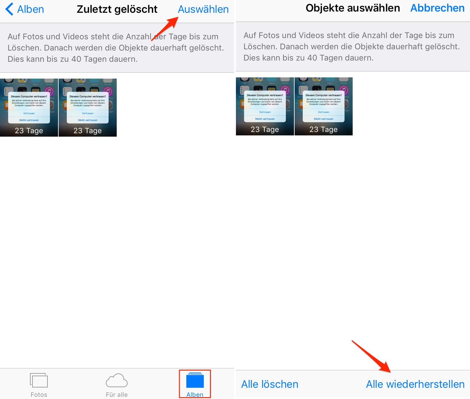 """iPhone 6/6s Fotos vom Album """"Zuletzt gelöscht"""" wiederherstellen"""