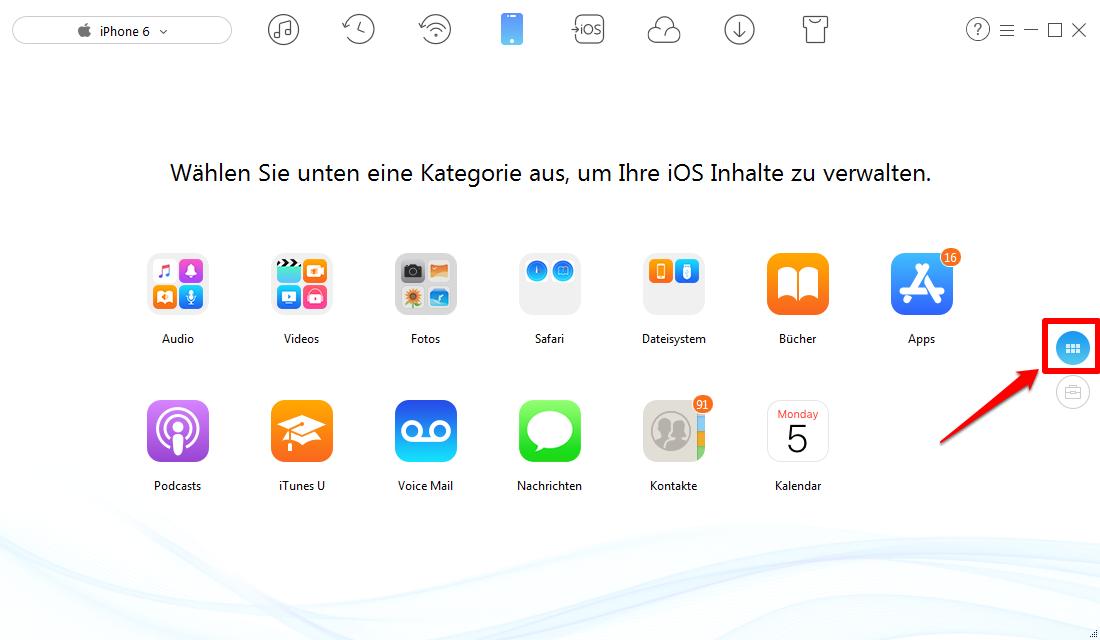 iPhone 6/6s Bilder auf PC/Mac übertragen – Schritt 1