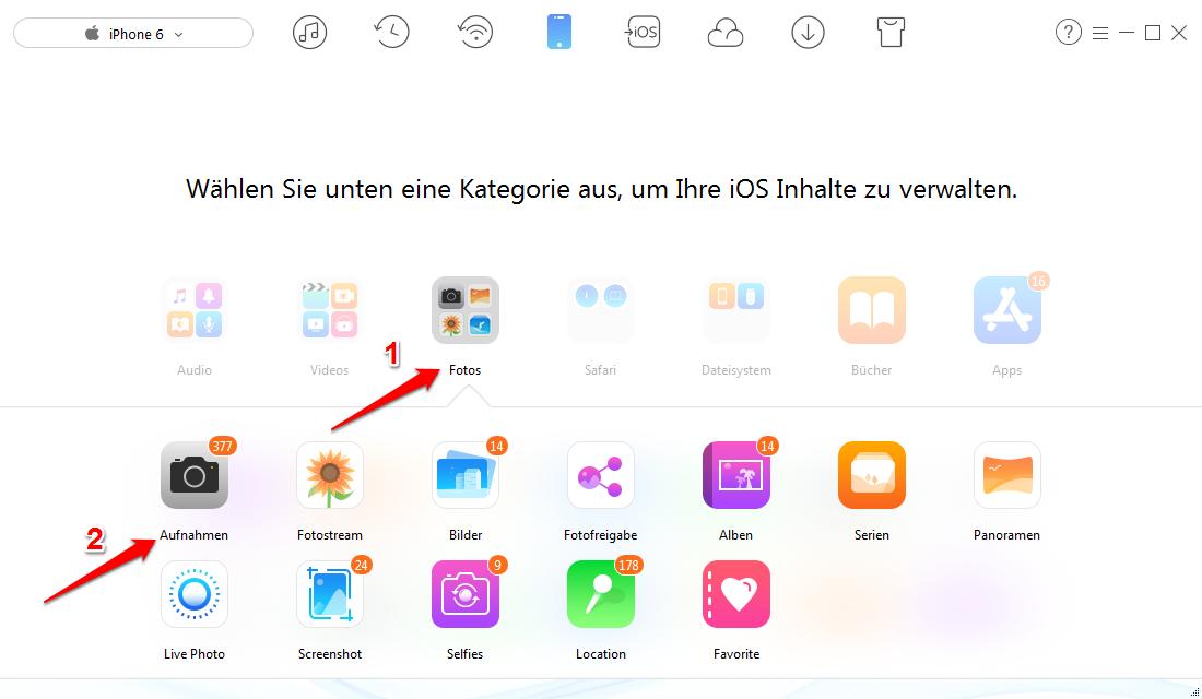Fotos von iPhone 6/6s auf PC/Mac übertragen – Schritt 2