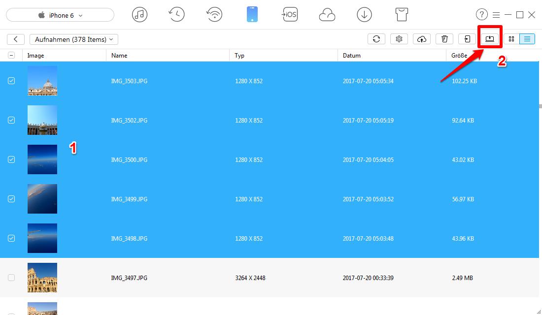 Bilder vom iPhone 6/6s auf PC/Mac übetragen – Schritt 3