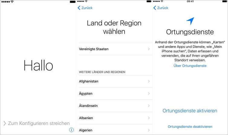 Neues iPhone einrichten: Land und Region wählen und Ortungsdienste aktivieren