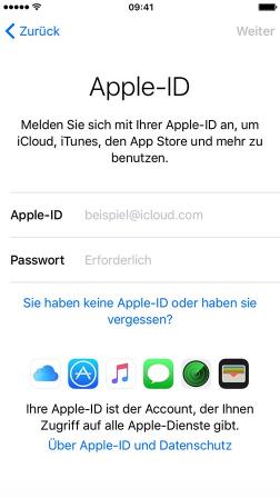 Apple-ID anmelden – Neues iPhone 6/6s einrichten