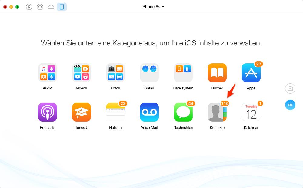 Kontakte vom iPhone löschen – Schritt 2