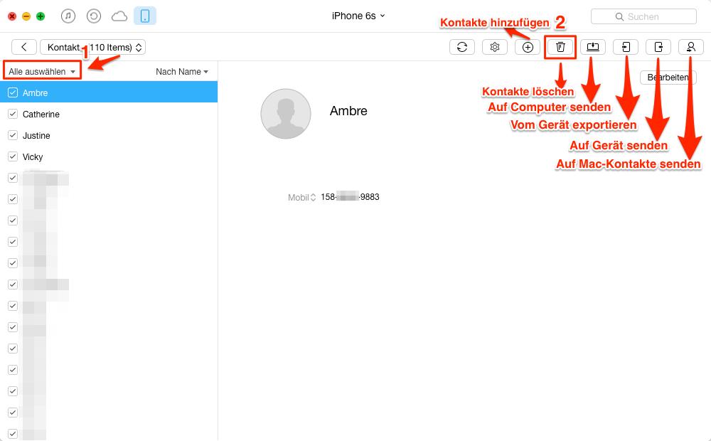 iPhone 6s alle Kontakte löschen – Schritt 3