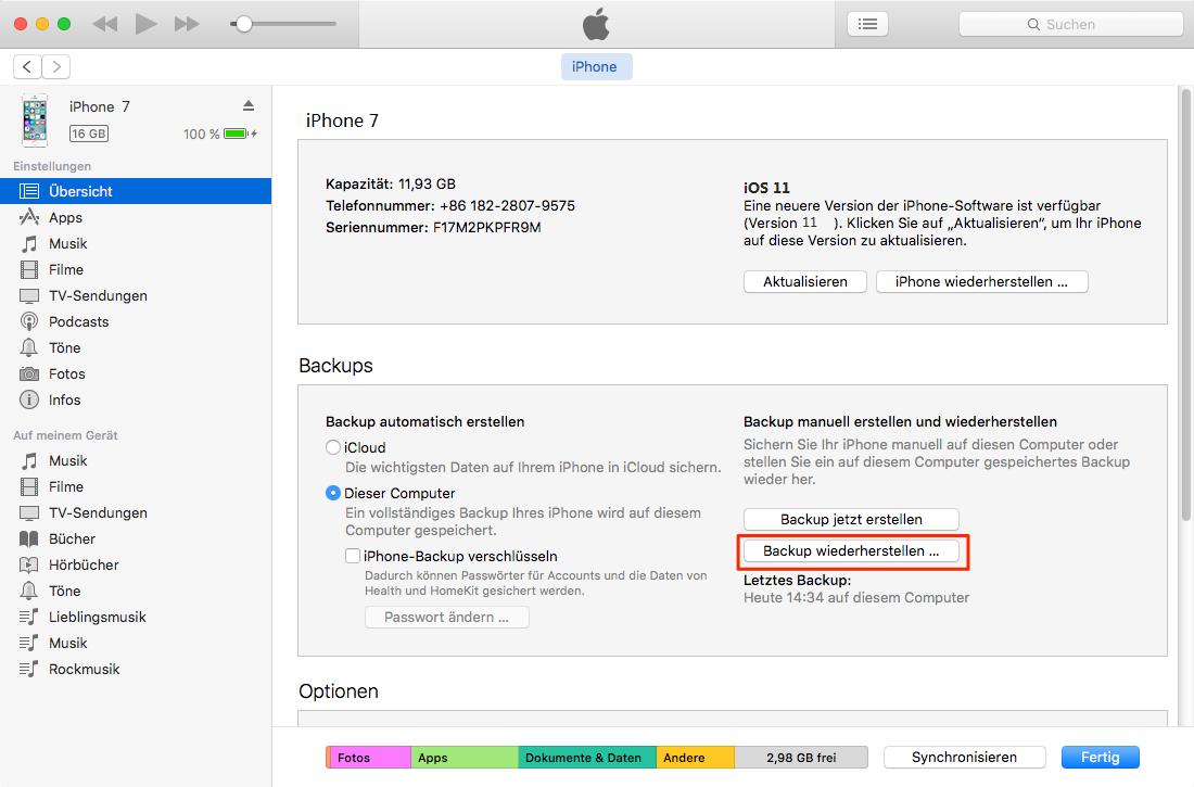 iPhone Anrufliste aus iTunes-Backup wiederherstellen