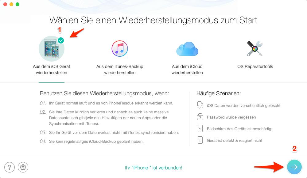 Gelöschte Anrufliste direkt vom iPhone X/8/7(Plus) wiederherstellen – Schritt 3
